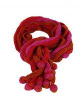 Echarpe en laine du Népal minza fushia orange et rouge 247818