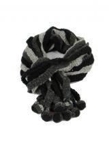 Echarpe en laine du Népal minza grise et noire 247816