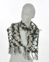 Echarpe laine retro bleu et beige 238027