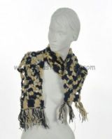 Echarpe laine retro bleue et beige 238030