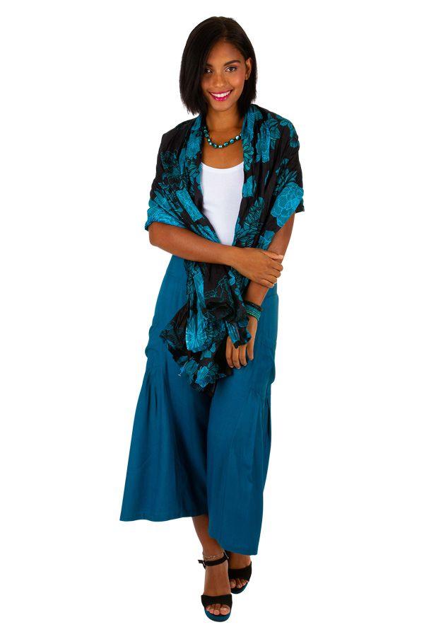 Etole / Foulard avec des motifs floraux noir et bleu Gabriel