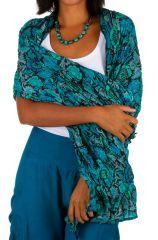 Foulard bleu turquoise floral en coton motifs fleurs Julien
