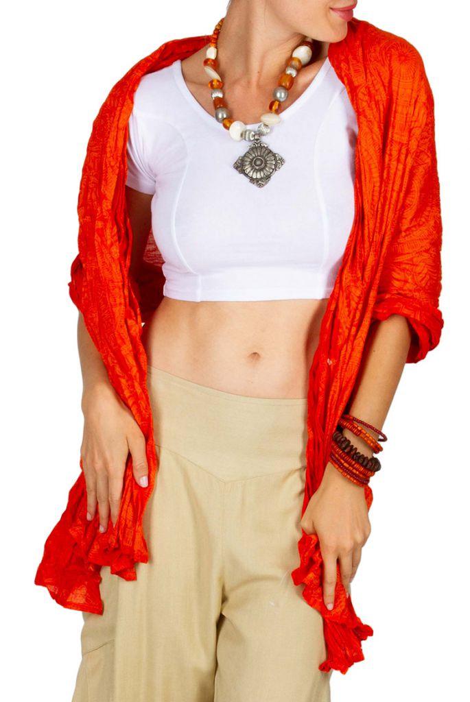 Foulard imprimé dans les tons de orange en coton Jaquard