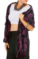 Foulard imprimé ethnique noir et rose en coton Adri 309404