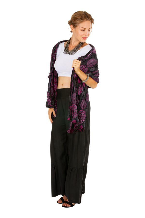 Foulard imprimé ethnique noir et rose en coton Adri 309405