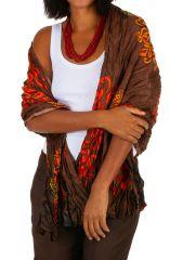 Foulard imprimé marron et orange tendance ethnique 309392