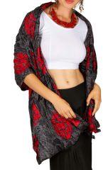 Foulard imprimé motif Arabesque gris et rouge Léo