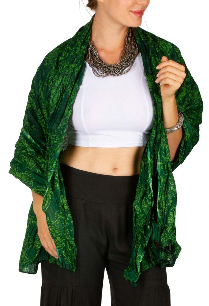 Foulard imprimé tons de vert pour femme Martin