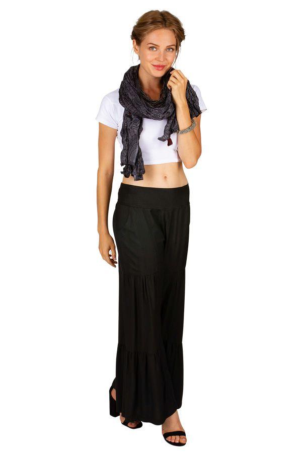 Foulard noir et gris avec des rosaces look ethnique Phil 309446