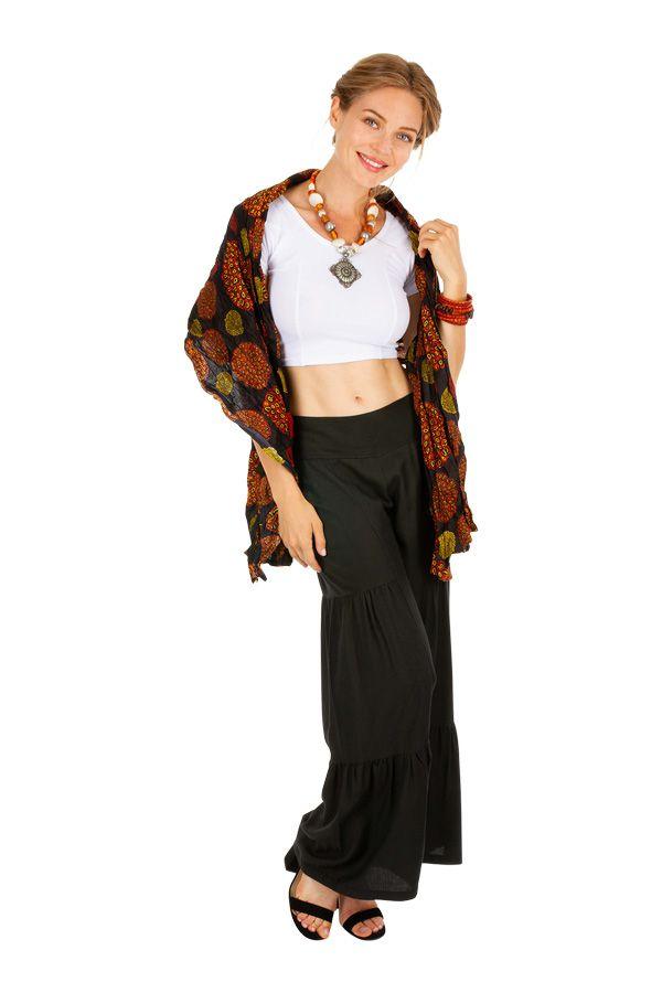 Foulard noir imprimé de rosaces pour femme Luc 309399