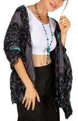 Foulard pour femme imprimé gris et turquoise coton David