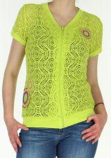 Gilet pour Femme en maille Original et Coloré Nanouk Anis 278562