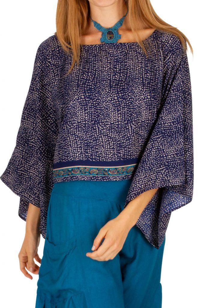 Haut court à manches longues bleu pour femme Briana 309067