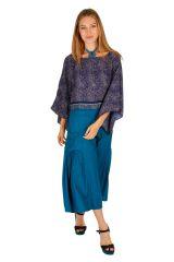 Haut court à manches longues bleu pour femme Briana 309068