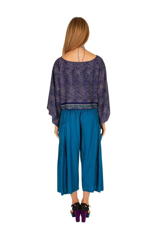 Haut court à manches longues bleu pour femme Briana 309069