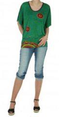 Haut ethnique cape chauve souris imprimé malakif vert 245796