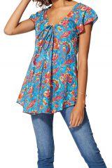 Haut femme en coton mode bohème chic à fleurs d\'été Kine