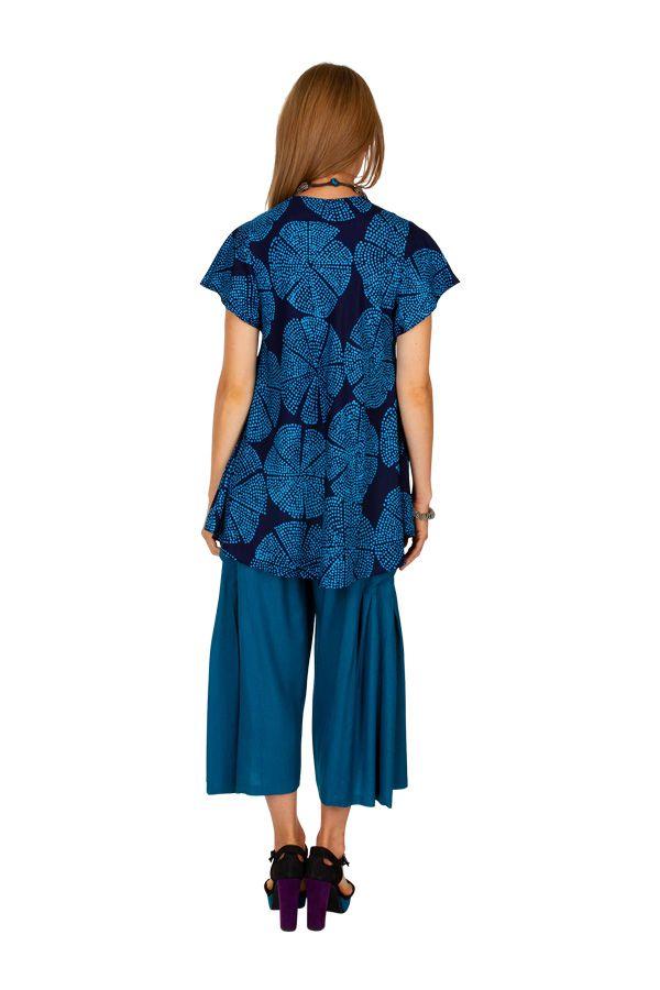Haut plissé imprimé coloré et original bleu femme Mimie