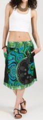 Jolie Jupe mi-longue ethnique et colorée - bleue -Maeva 271872