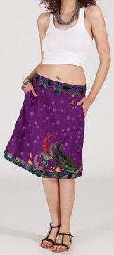 Jolie Jupe mi-longue ethnique et colorée - violette - Adila 271876