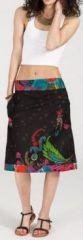 Jolie Jupe mi-longue ethnique et colorée -noire - Stella 271870