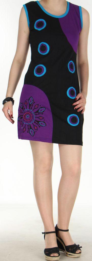 Jolie robe courte - ethnique et colorée - Noire/Violette - Magda 272140