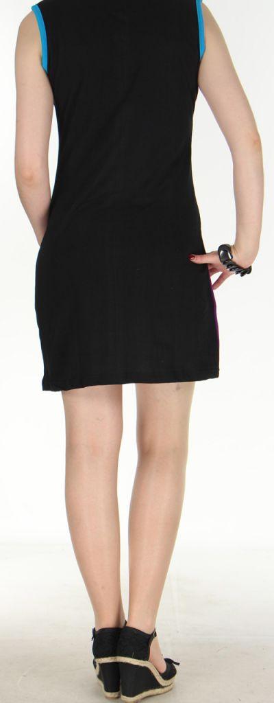 Jolie robe courte - ethnique et colorée - Noire/Violette - Magda 272141