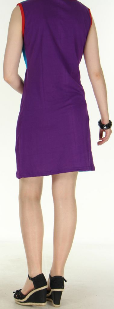 Jolie robe courte - ethnique et colorée - Violette/Bleue - Magda 272145