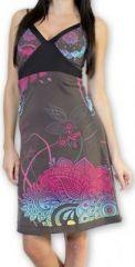 Jolie robe courte d'été tendance et colorée Gris Carlla 273304