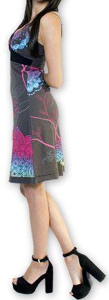 Jolie robe courte d'été tendance et colorée Gris Carlla 273307