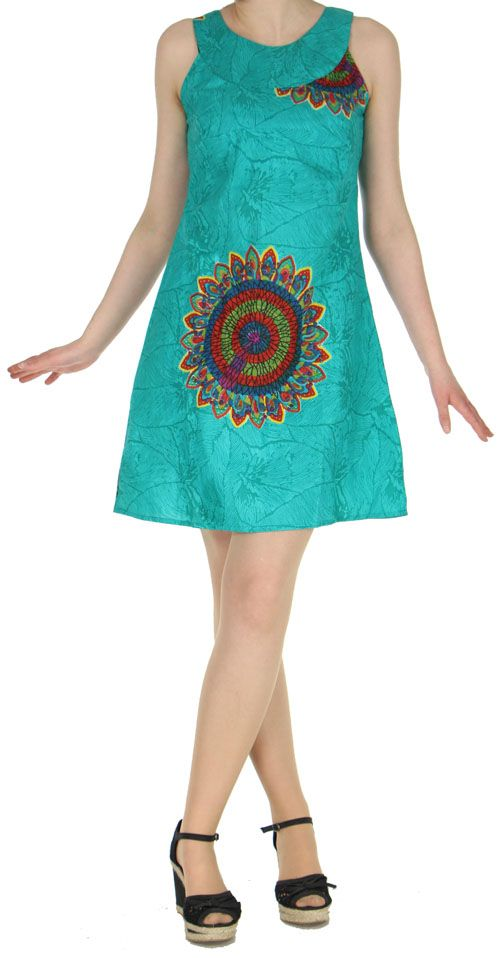 Jolie Robe d'été ethnique idéale cérémonie  Verte  Alisha 272578