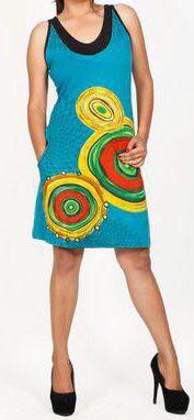 Jolie robe d'été sans manches ethnique et pas chère Bleue Ninfa 272191