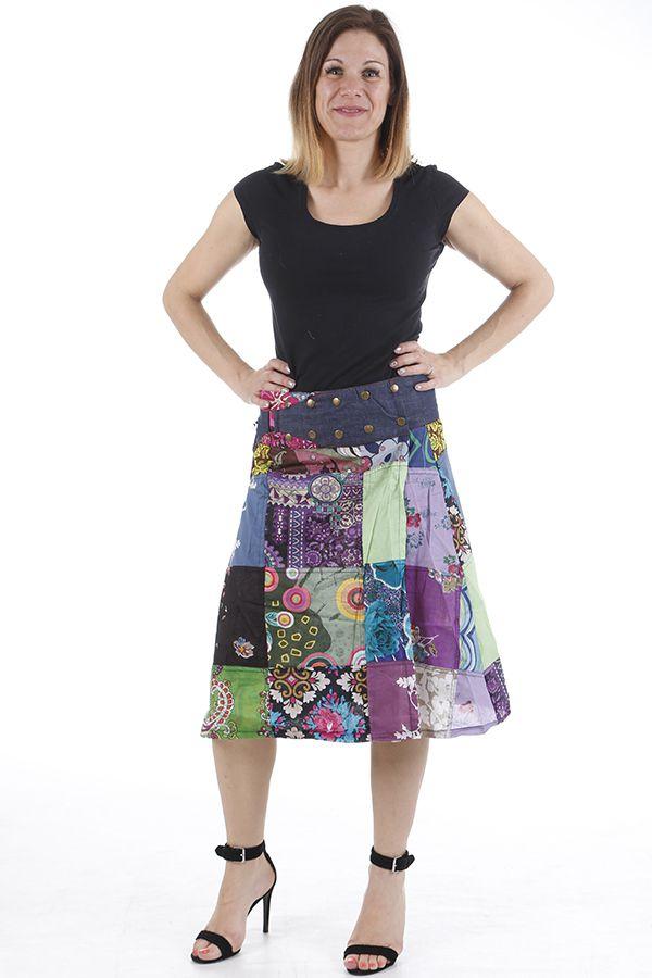 Jupe à la ceinture réglable patchwork et colorée Jessy 310655
