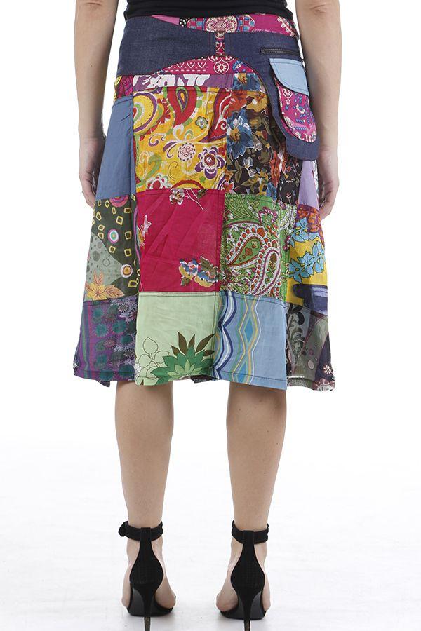 Jupe à la ceinture réglable patchwork et colorée Jessy 310657