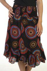 jupe asymétrique coupe midi a godets avec imprimés noire Célie 291295