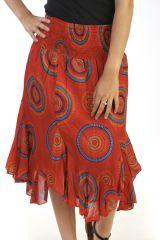 jupe coupe midi asymétrique a godets avec imprimés rouge Célie 291285