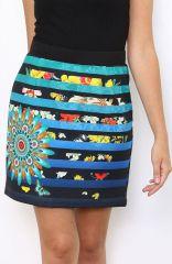 Jupe courte avec un imprimé mandala multicolore Inès 304182