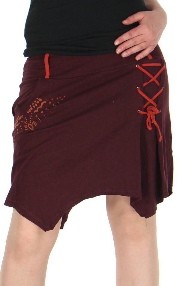 1e8e706c9cb1 Jupe ethnique courte jupe portefeuille noire