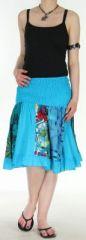 Jupe courte et légère d'été transformable 2en1 Bleue Volante 272542