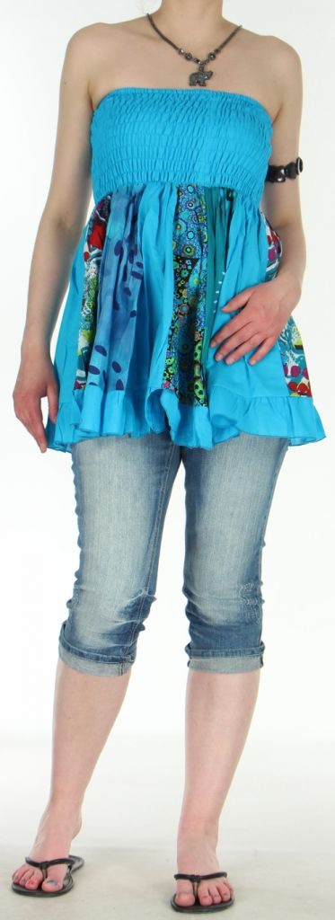 Jupe courte et légère d'été transformable 2en1 Bleue Volante 272543