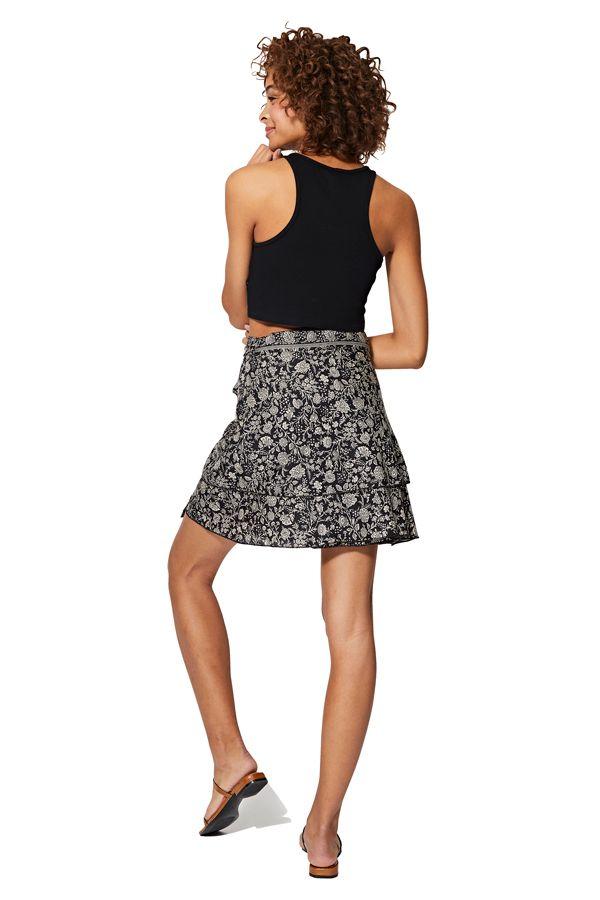 Jupe courte femme en portefeuille noire à fleurs Chisato