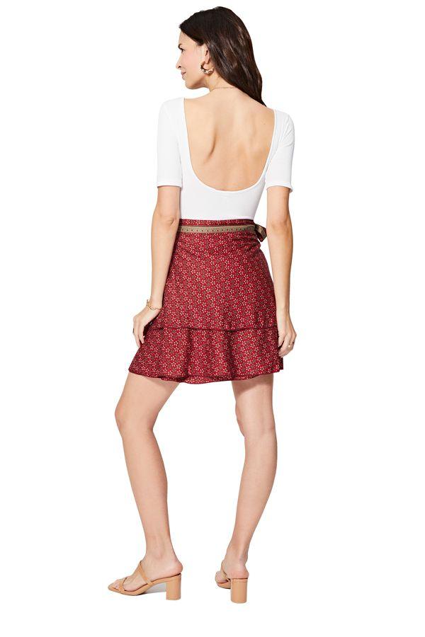 Jupe courte femme en portefeuille rouge à fleurs Chisaki