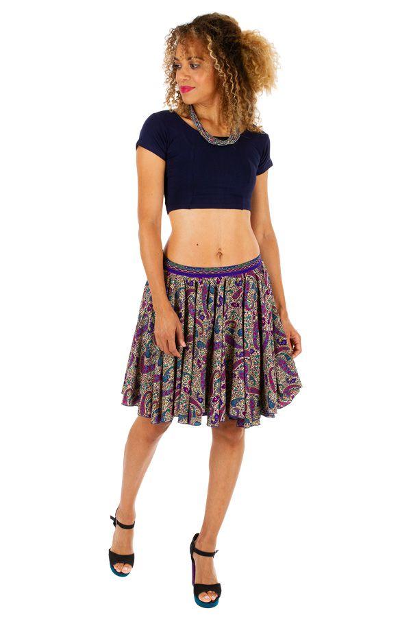 Jupe courte plissée avec un imprimé bohème tendance Nina 305832