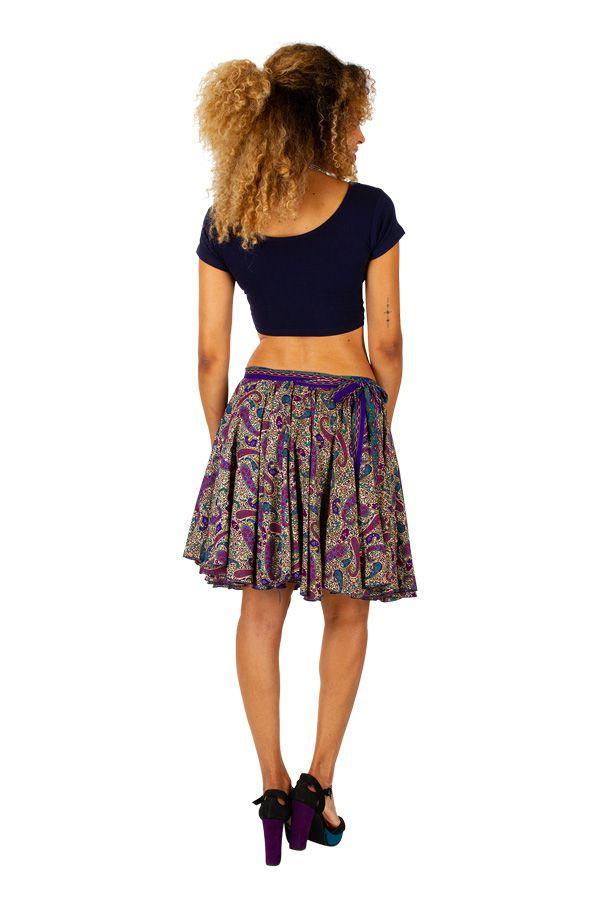 Jupe courte plissée avec un imprimé bohème tendance Nina 305833