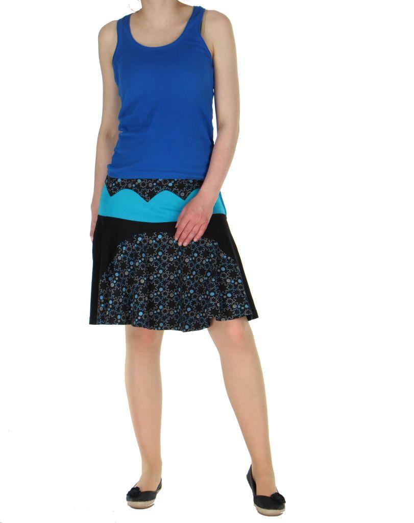 Jupe courte volantée noire et bleue kessy 261243