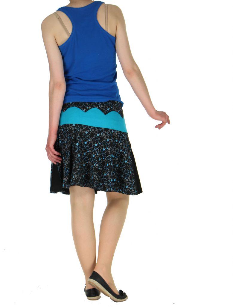 Jupe courte volantée noire et bleue kessy 261244