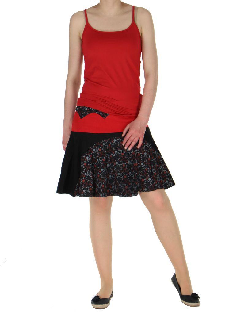 Jupe courte volantée noire et rouge kessy 261241