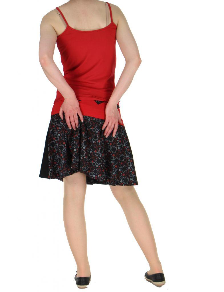 Jupe courte volantée noire et rouge kessy 261242