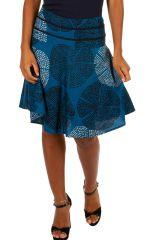 Jupe d'été courte bleue avec un joli imprimé fashion Gaelle 305612