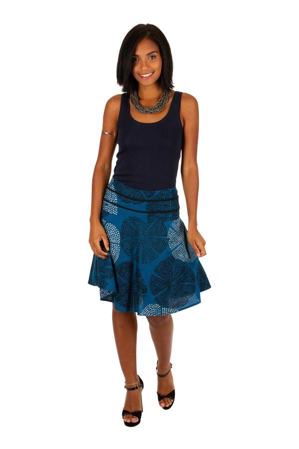 Jupe d'été courte bleue avec un joli imprimé fashion Gaelle 305613